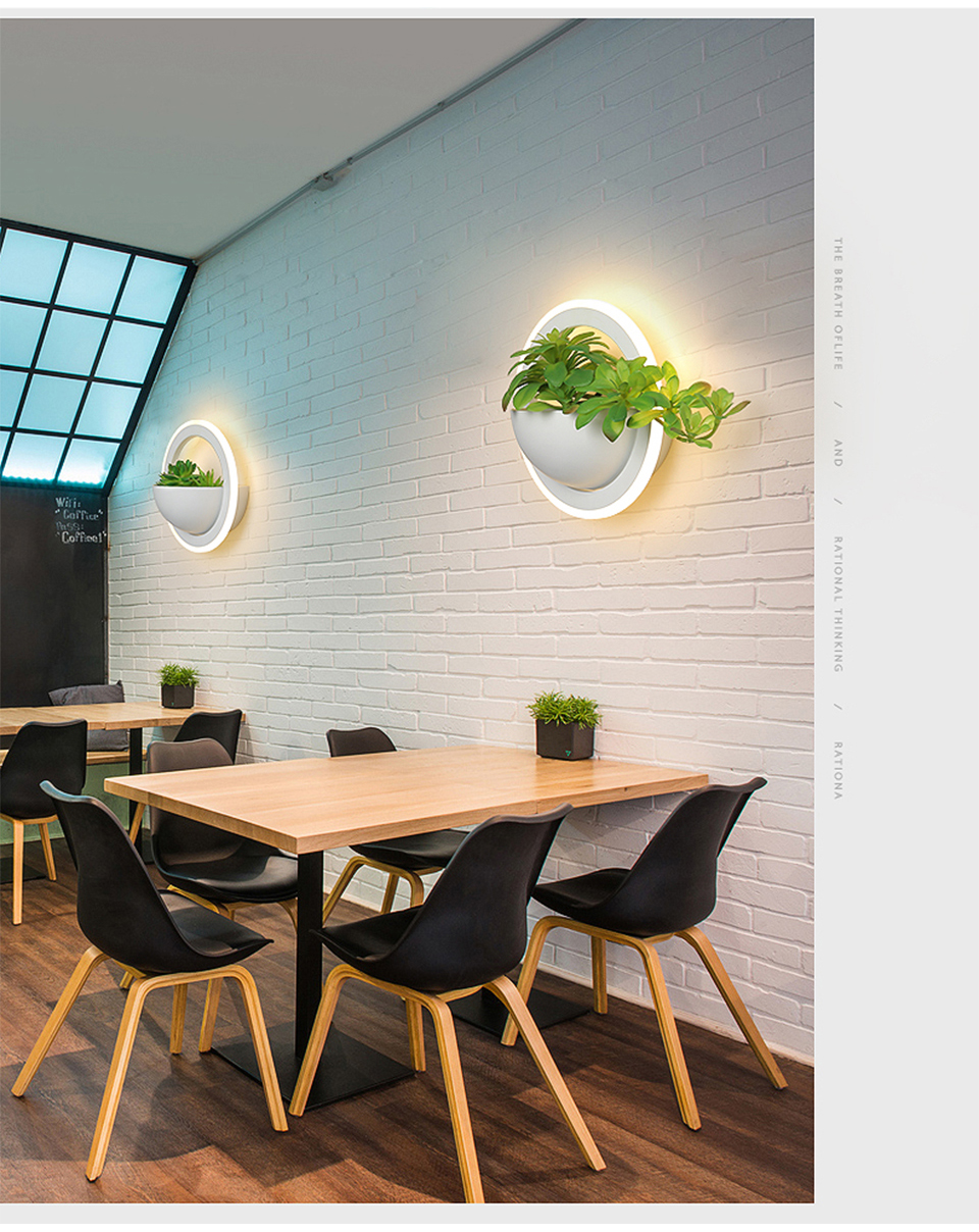 plantas verdes led luzes de parede arandela