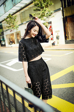 2016 Spring And Summer New Fashion Openwork Lace Top+Seven Wide Leg Pants Piece Fitted Woman Solid Black White Color Set