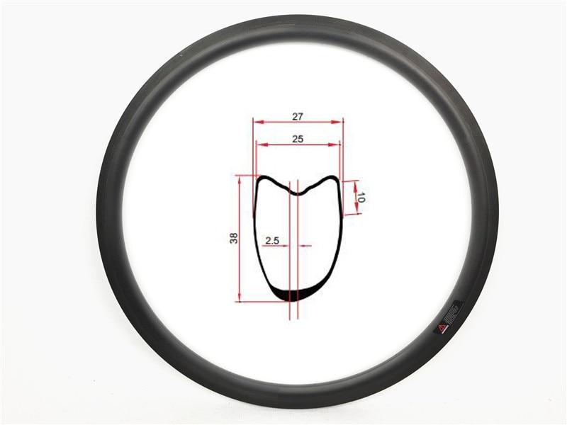 DEERACE 1 par de ASSIMÉTRICA 38mm 700c Tubular Estrada de Carbono Roda de bicicleta Jantes de Bicicleta Aro 25mm de Largura U Forma 2.5mm OFFSET