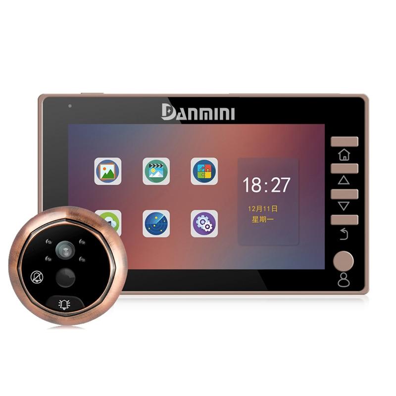 DANMINI New 4.5 inch Video Door Phone 170 Degree Peephole Viewer Outdoor IR Night Vision Door Camera Doorphone PIR Motion Detect|Doorbell| |  - title=