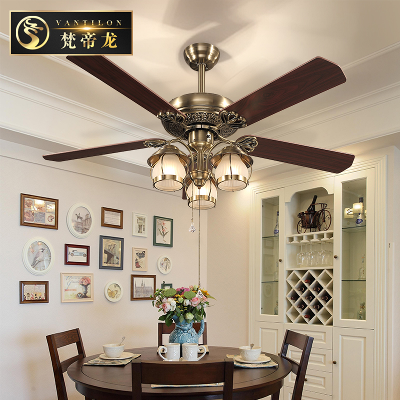 Europe type restoring ancient ways of lamps and lanterns fan lamp droplight sitting room the bedroom ceiling lamp high grade non woven fabric of green chinese trumpet creeper wallpaper europe type restoring ancient ways sitting room bedroom