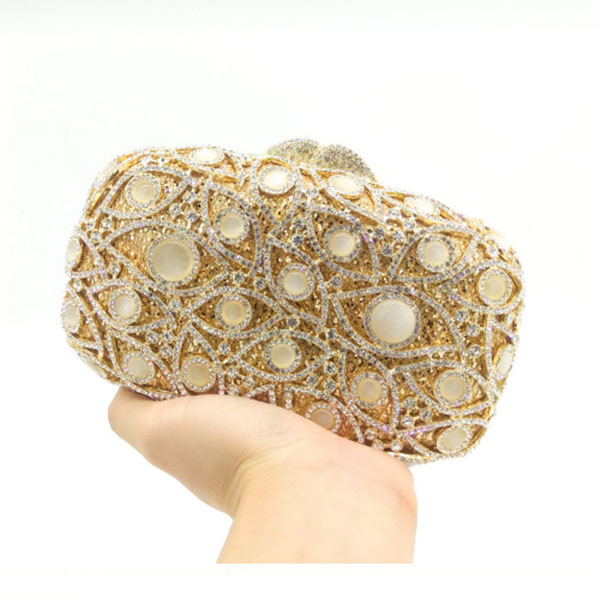 Fashion Women crystal Clutch Bag Luxury Pearl Bead Wedding Handbag Party  Purse gold Women Evening Bag Bolsa Mujer