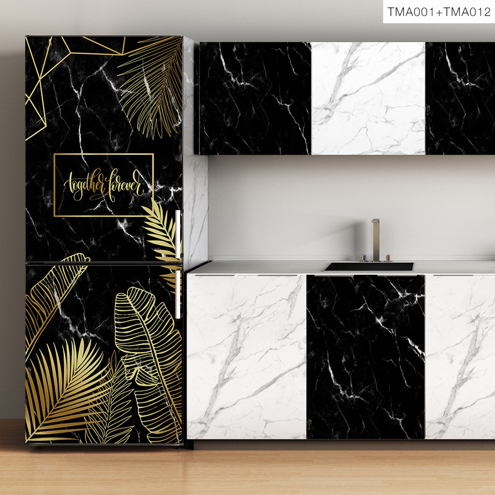 Self-adhesive Furniture Sticker Wardrobe Eco-friendly Marble Wall Stickers Removable Waterproof Home Decorative Films TMA012