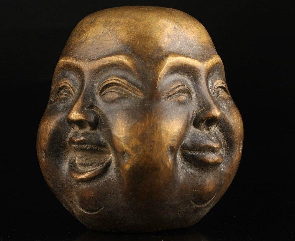 Alte Collect Bronzeguss Freuden Sorrows Spirituelle Vier gesicht Buddha Statue Kopf