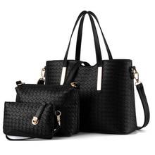 Famoso diseñador de marcas de lujo las mujeres bolsa conjunto medio de buena calidad bolso de las mujeres fijó 2017 3 unids/set nuevas mujeres bolsa de hombro QT-117