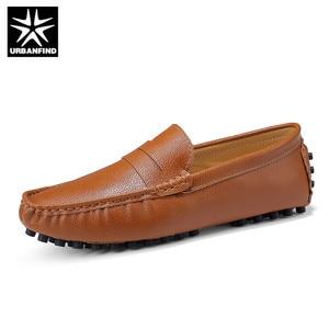 Image 4 - URBANFIND Size 50 Men Casual Shoes Fashion Men Shoes Genuine Leather Men Loafers Moccasins Slip On Mens Flats