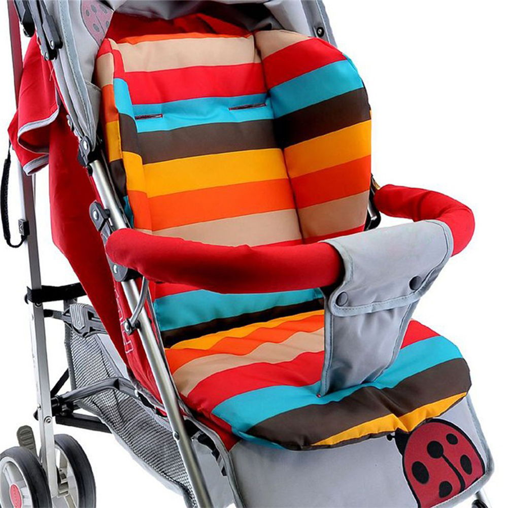 1Pcs Soft Thick Pram Cushion Chair BB Car Umbrella Cart Seat Pad Cotton Striped Liner Infant Stroller Mat For Baby Kids
