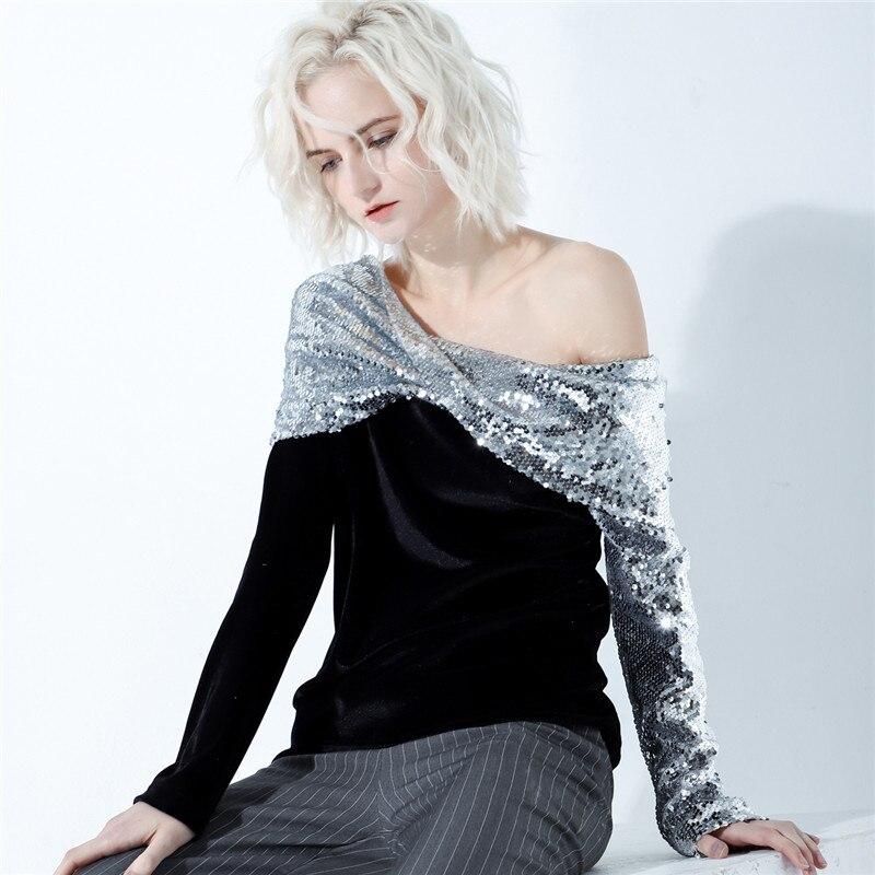 Women Sweatshirts 2019 Spring Silver Bling Sequin Sweatshirt Velvet Drop-shoulder Twinstyle Sheath Sexy Hoodies Fashion Clubwear