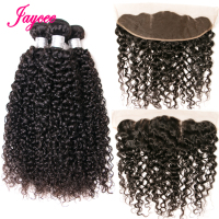 Jaycee Hair Kinky Curly Brazilian Hair Lace Frontal Closure With Bundles Human Hair 3 Bundles With Frontal Non Remy Weave
