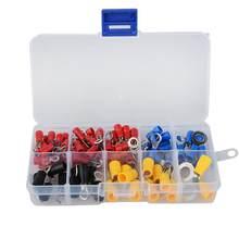 (102 sztuk 10 rodzajów RV) zacisk pierścieniowy zestaw złączy zacisków do kabli elektrycznych zestaw z pudełkiem, drut miedziany przewód w izolacji Pin End Butt