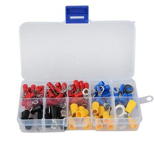 (102PCS 10Kinds RV) Ring Terminal Electrical Crimp Connector Kit Set With Box,Copper Wire Insulated Cord Pin End Butt(China)