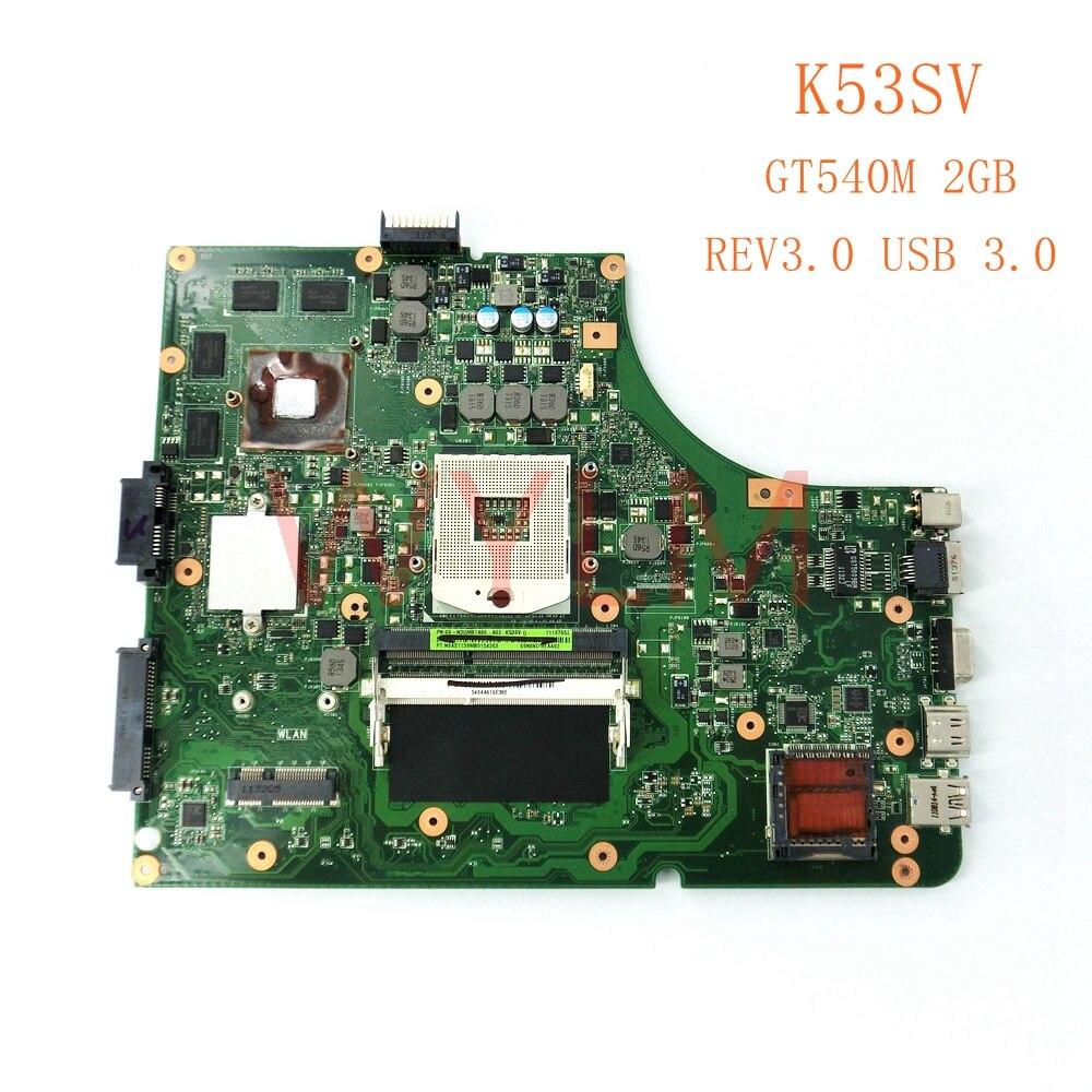 Бесплатная доставка K53SV GT540M 2 ГБ REV3.0 USB 3,0 плата для ASUS K53S X53S A53S K53SV Материнская плата ноутбука P/N 60-N3GMB1A00-A02 ...