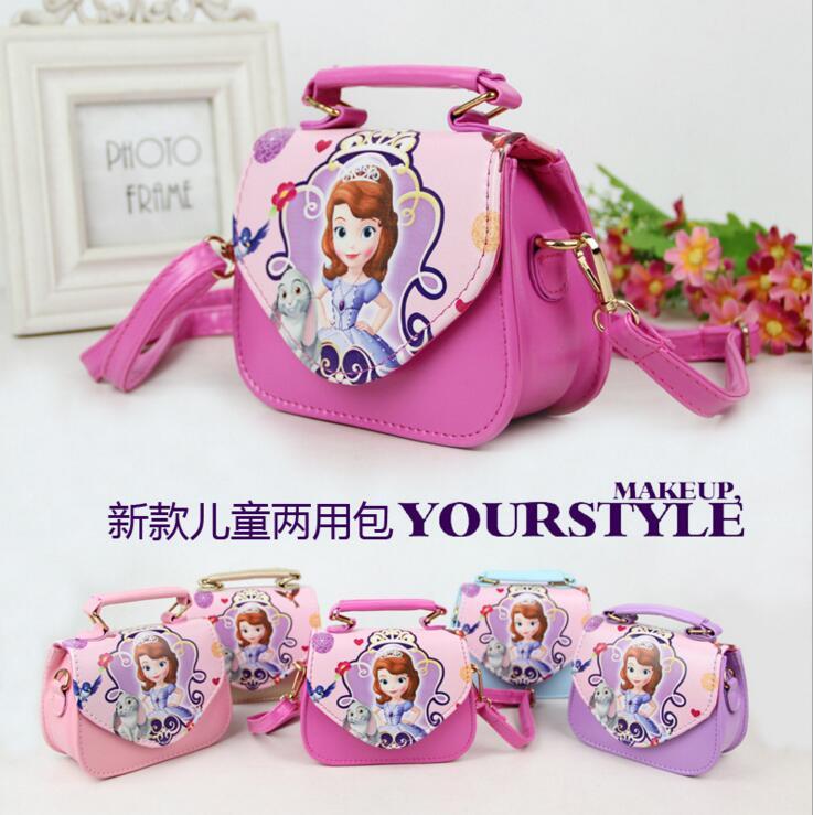 0d113a1fd6f Lovely Children Girls Bags sofia Handbag Girls Accessories Kids Handbags  Children PU Party princess Messenger bag for girls-in Shoulder Bags from ...