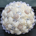 New Arrival New Wedding Bouquets Ivory Silk Rose Wedding Bouquet Artificial Flower Crystal Pearl Brooch Bridal Bouquet