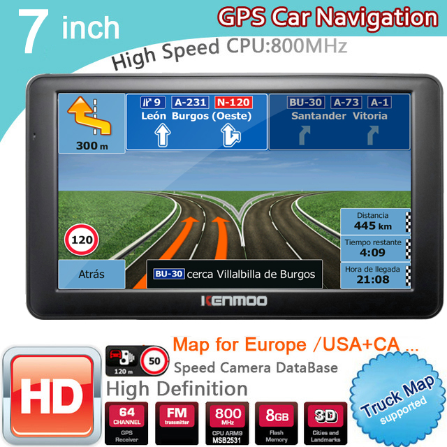 Neue 7 inch HD GPS Auto Navigation 800MHZ FM/8 GB/DDR3 2019 Karten Für Russland/ weißrussland Europa/USA + Kanada LKW Navi Camper Caravan