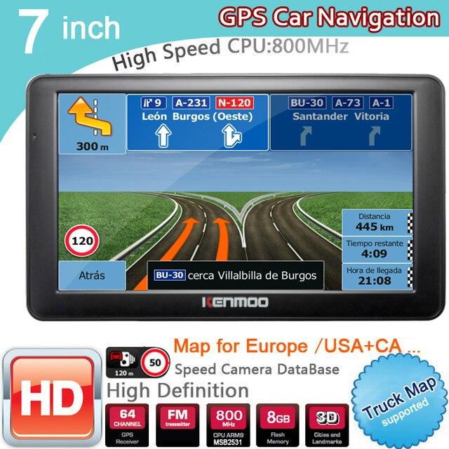 Nouveau 7 pouces HD GPS De Voiture Navigation 800 MHZ FM/8 GB/DDR3 2018 Cartes Pour La Russie/ bélarus Europe/USA + Canada CAMION Satnav Caravane Camping-Car