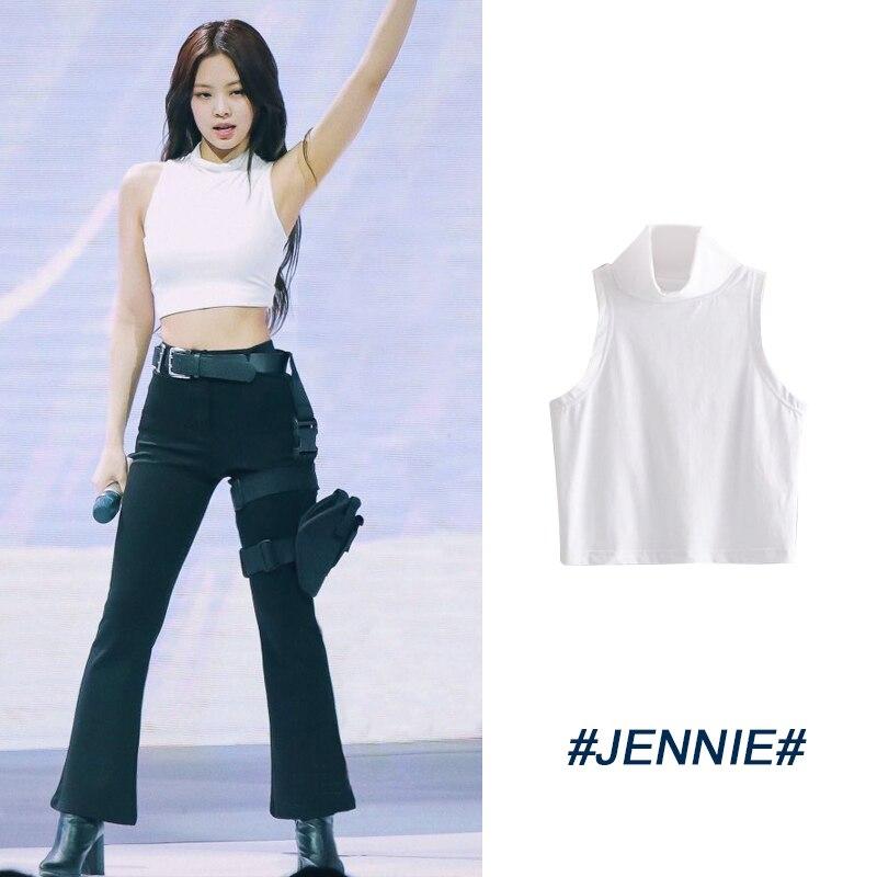 caf96ec24d730 Kpop Blackpink jennie mismo salvaje blanco suelta Camiseta corta mujeres  verano coreano streetwear ...