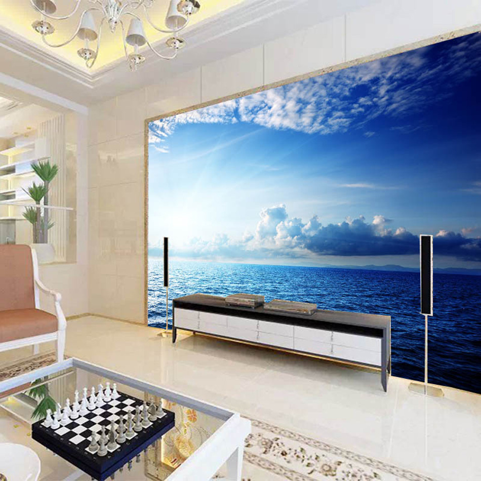 Blue sky seaside cloud diy nature wallpaper 3d wall mural rolls blue sky seaside cloud diy nature wallpaper 3d wall mural rolls hotel restaurant cafe hall office livingroom bedroom decor in wallpapers from home amipublicfo Choice Image
