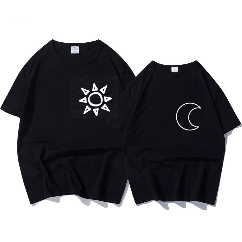 Summer New Fashion Shirts Matching Women T Shirt Sun And Moon Print T Shirt Funny Couple T-Shirts Gift Female Short Sleeve Tops