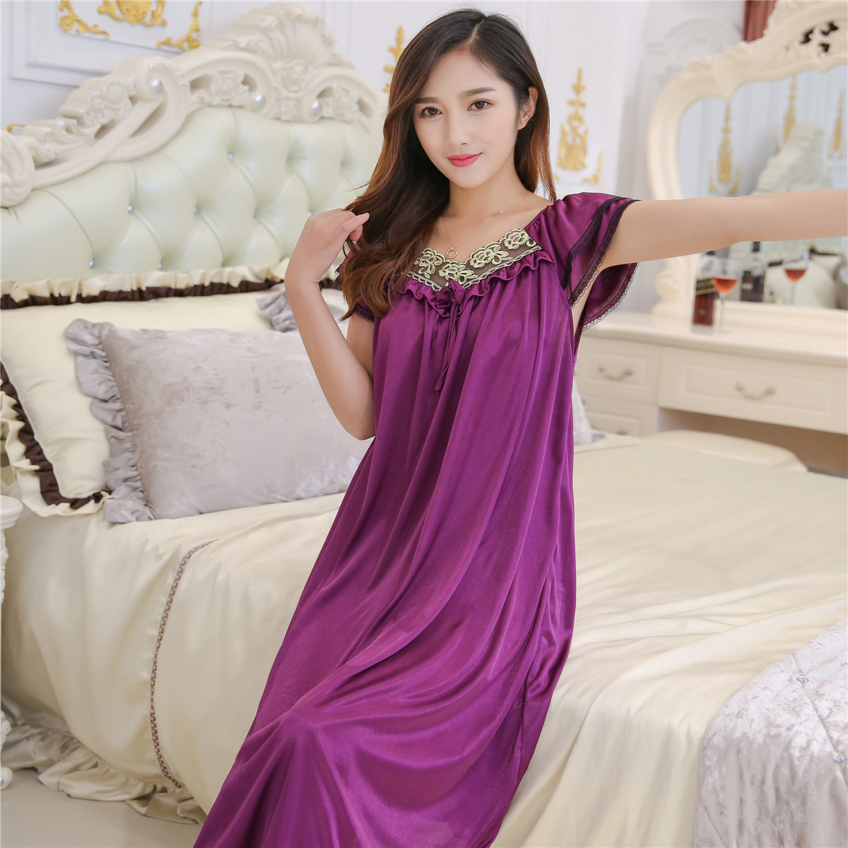 Lace Nightgowns Summer Ice Silk Nightgown Ms Mm Skirt Fat -8542