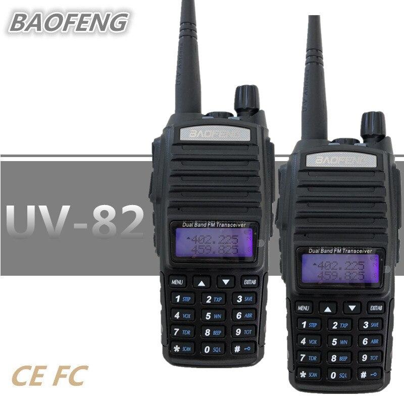 2PCS BAOFENG PTT UV 82 Walkie Talkie 10 KM UHF VHF CB Radio Communicador Portable Quad