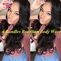 7a Grade Brazilian Virgin Hair Body Wave 4 Bundles Brazilian Body Wave Fashion Leader Human Hair Brazilian Hair Weave Bundles