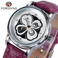 FORSINING Trendy Beauty Dress Wrist Watch Crystal Women Automatic Mechanical Purple Leather Band Ladies Christmas Gift W180703