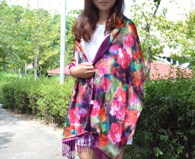 Женская шелк шарф, Длинная женщины шёлковые шали, Роза печать, Цветочный шарф, Пашмина платки, Чистый шелк палантины