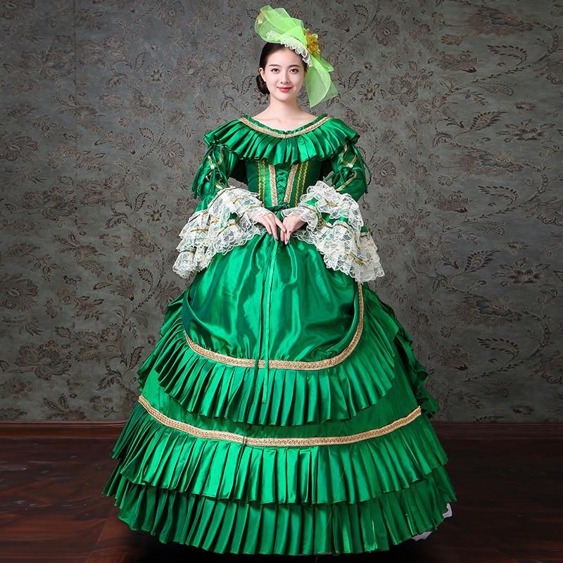 Femmes vertes personnalisées longue robe médiévale cour européenne mascarade période robes de soirée robes de bal Costumes