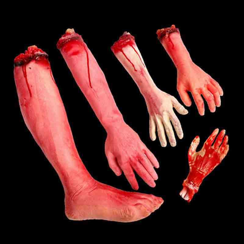 Scary Props Broken Finger Hand Foot Blood Horror Halloween Decor Severed Bloody Limbs Hand Novelty Dead Broken Hand Gadgets
