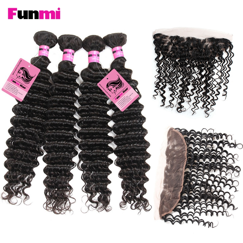 Funmi 13x4 Pre Plucked Lace Frontal With 4 Bundles Peruvian Deep Wave With Frontal Closure Virgin Human Hair Bundle With Frontal
