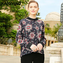 KAMIYING New Spring Of 2019 Reverse Design Of Silk Shirt With Retro Printing Individual Temperament Long Sleeves Silk Blouse(China)