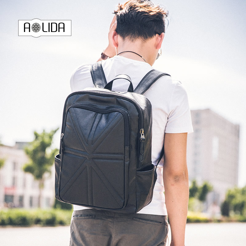 2017 Men and Women Laptop Bags 14 inch Pu Leather Rucksack School Travel Bag Male Backpack Notebook Computer Bag black men pu leather backpack crocodile pattern school backpacks for teenagers double shoulder bag black laptop rucksack travel bags