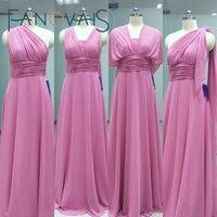 Real photos custom made pleats a line floor length chiffon long convertible bridesmaid dresses 2016.jpg 200x200