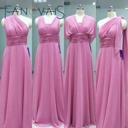 Real photos custom made pleats a line floor length chiffon long convertible bridesmaid dresses 2016.jpg 250x250