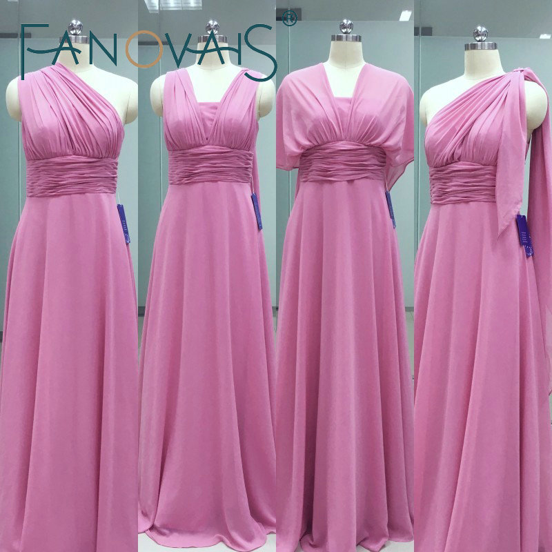 Real Photos Custom Made Pleats A-line Floor Length Chiffon Long Convertible   Bridesmaid     Dresses   2019