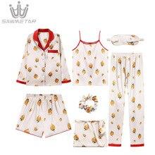 2019 Women Summer Pajamas Sets Silk Satin Pijama 7 Pieces Pyjamas Long Sleeve Print Sleepwear Turn-Down Collar Pajama