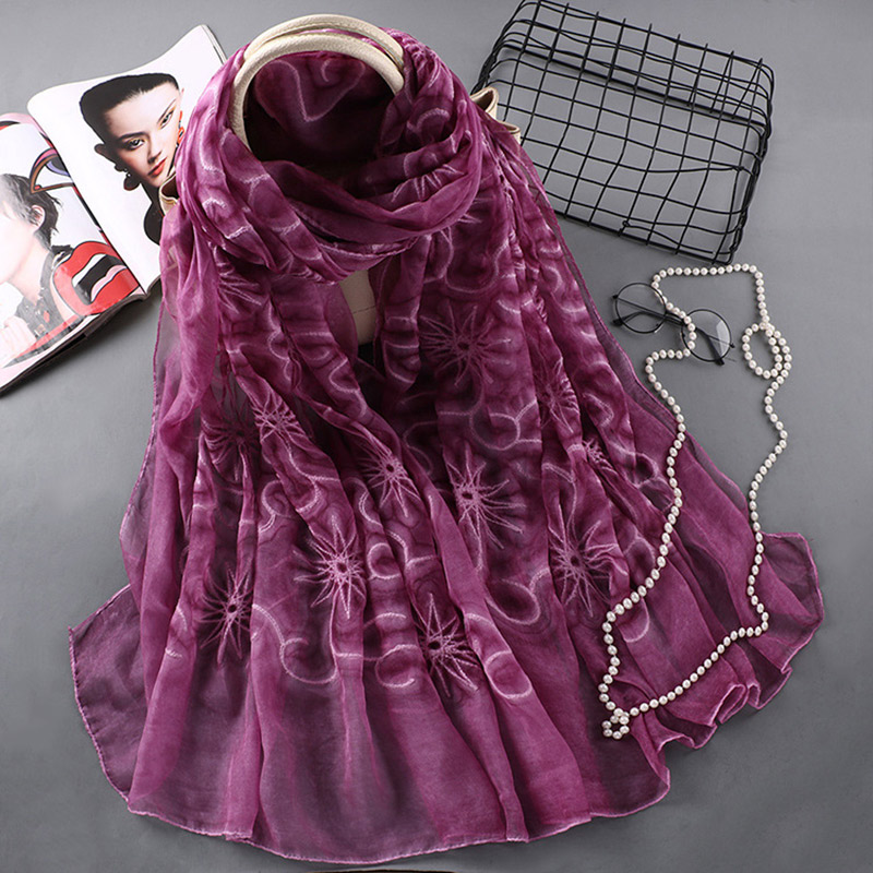 Women Breathable Embroidery Long Scarf Cloud Star Shawl for Spring Summer Autumn  -MX8