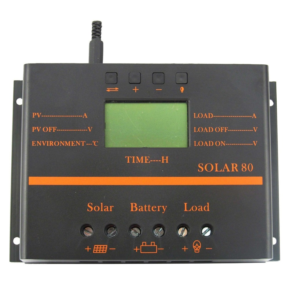 Solar Panel Battery Charge Controller 80A LCD Solar Panel Battery Regulator Charge Discharge Controller 12V 24V & USB