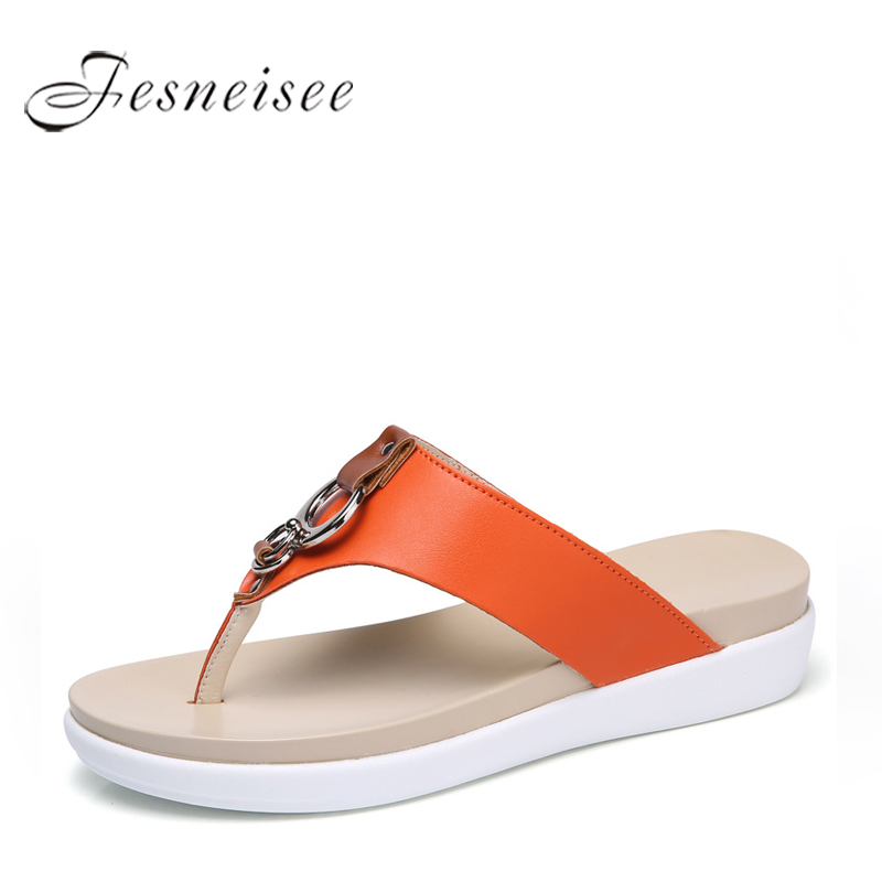FESNEISEE Summer Women Flip Flops slipper 2108 genuine leather Casual lady shoes Free Mail Women flats slippers Plus Size35-43 5 covoyyar 2018 fringe women sandals vintage tassel lady flip flops summer back zip flat women shoes plus size 40 wss765