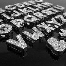 """8 мм """"N-Z""""(10 шт./лот) полностью Стразы скользящие буквы скользящие Подвески подходят для браслетов и браслетов DIY"""
