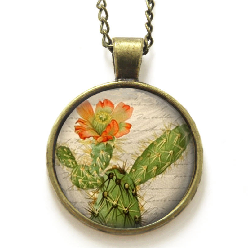 10PCS Cactus necklace Cactus Flower Prickly Pear Desert Southwest Art necklace Flower print glass necklace