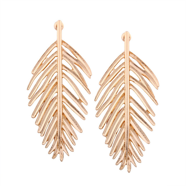 Feathers stud earrings Fashion Vintage Jewelry Exquisite Leaf Earrings Modern Beautiful Feather  Stud Earrings for Women gold earrings 2018