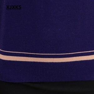 Image 4 - XJXKS 春と秋長袖セーター無地色ハスの葉襟プラスサイズのサイズのカシミヤ女性セーター