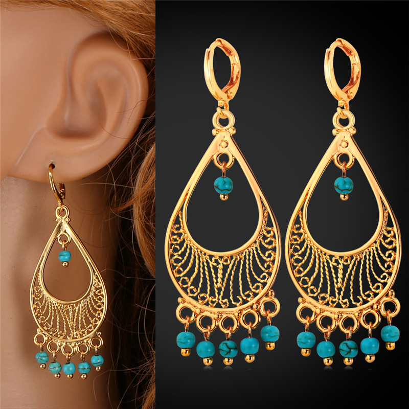 Vintage Earrings Turkish Jewelry Tel Ethnic Fashion Style Gold Color Long Drop For Women E1158 In From Accessories On