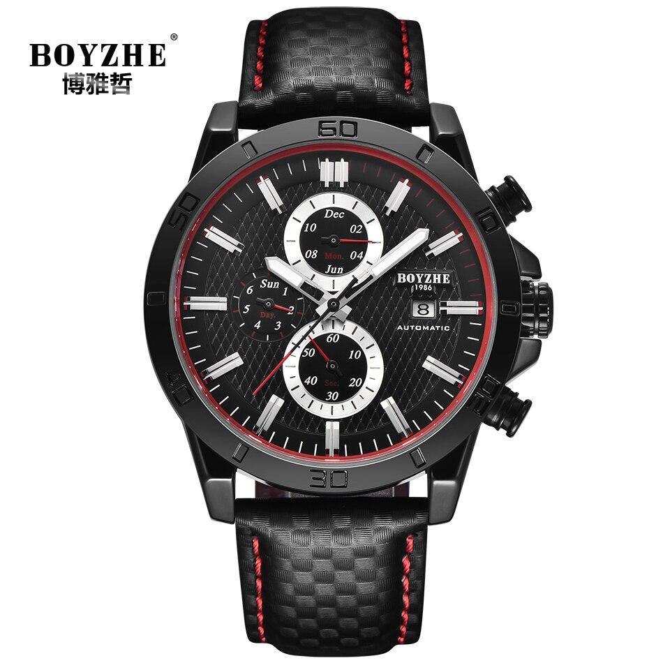 BOYZHE Luxe Merk mannen Automatische Mechanische Horloge Zwart 2019 Nieuwe Man Horloge Sport Waterdicht Kalender relogio masculino-in Mechanische Horloges van Horloges op  Groep 1