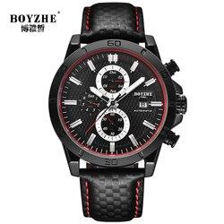 BOYZHE luksusowa marka męska automatyczny zegarek mechaniczny czarny 2019 nowy mężczyzna zegarek sportowy wodoodporny kalendarz relogio masculino