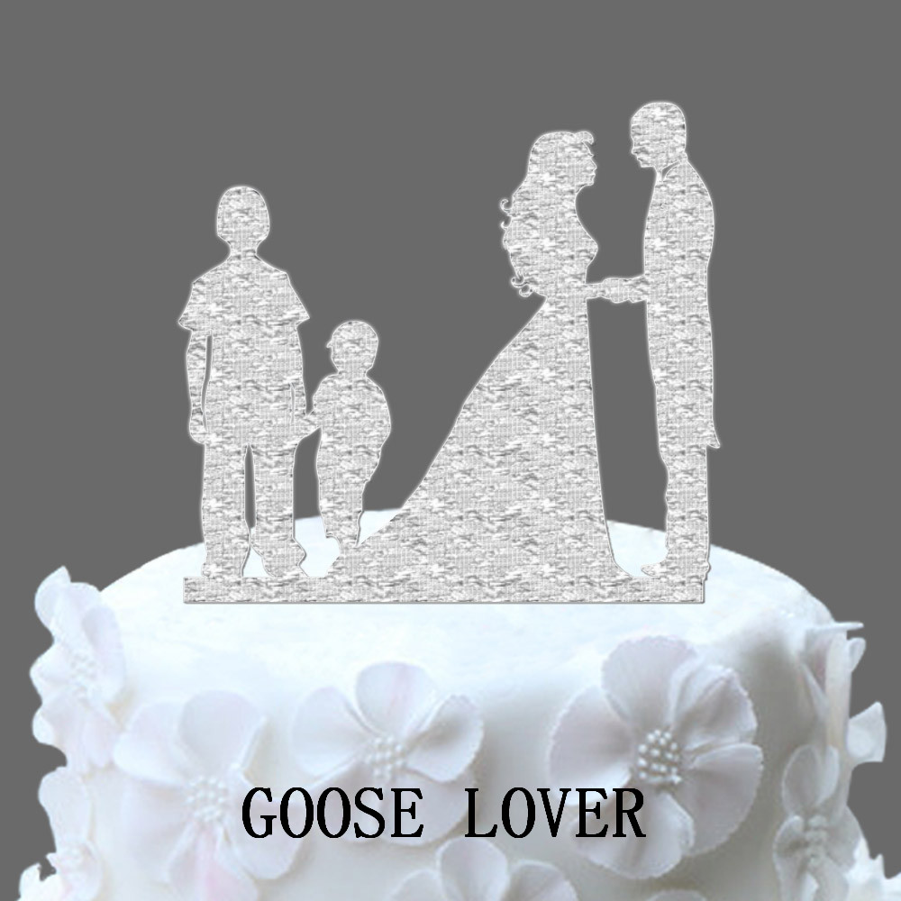 Bride Groom 2 Boys Family Theme Wedding Cakes Topper Acrylic Cake Topper Cake Topper Wedding Decoration