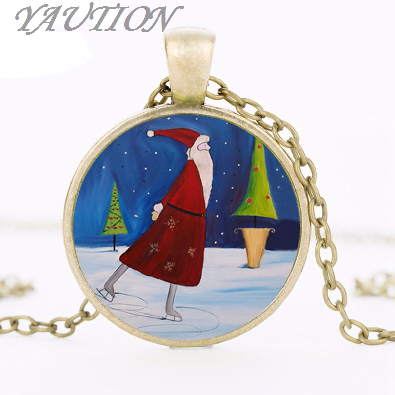 New Santa Skate Pendant Christmas Jewelry Santa Claus Necklace Silver Black Bronze Chain Glass Dome Pendants Gift Gril