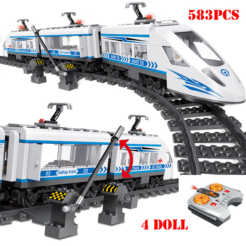 RC Technic City Railway Building Blocks Compatible Legoing Remote Control Station Rail Train Enlighten Bricks Toys For Children